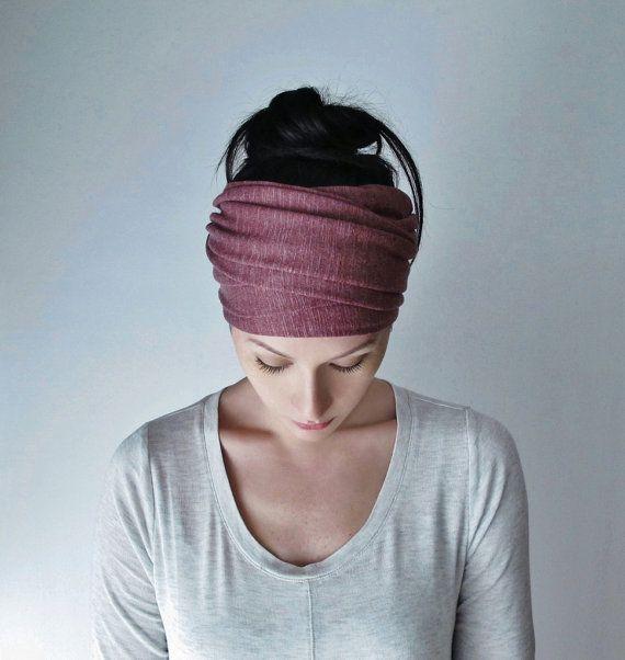VICTORIAN ROSE Head Scarf, EcoShag Head Wrap, Muted Raspberry Head Scarves for Women, Linen Jersey Hair Wrap, Handmade Boho Hair Scarf   – bandana