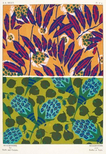 SEGUY, E. A. Suggestions pour Etoffes et Tapis. Plate no.9. Original pochoir lithograph for Suggestions pour Etoffes et Tapis, #Paris c. #1925 #pattern #design #textiles #colour #print