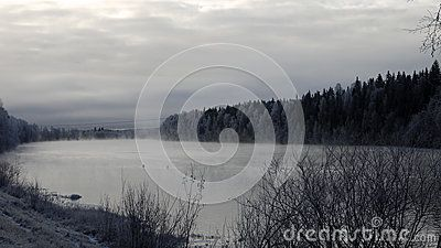 River and forest in winter, Savast, Northern Sweden.