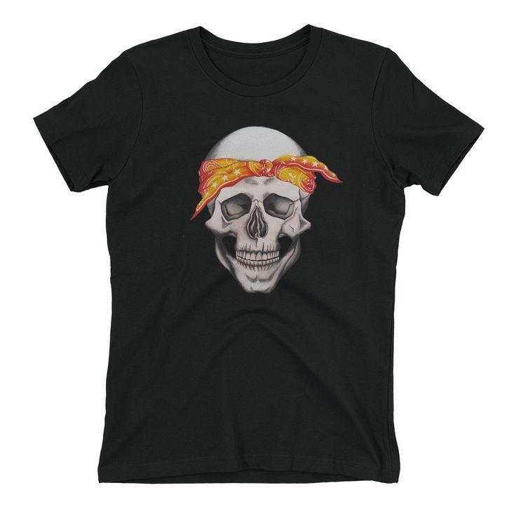 Women's Boyfriend T-Shirt with Tupac Skull Print
