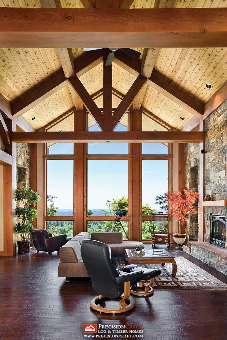 97 best images about log and timber homes on pinterest for Timber frame great room
