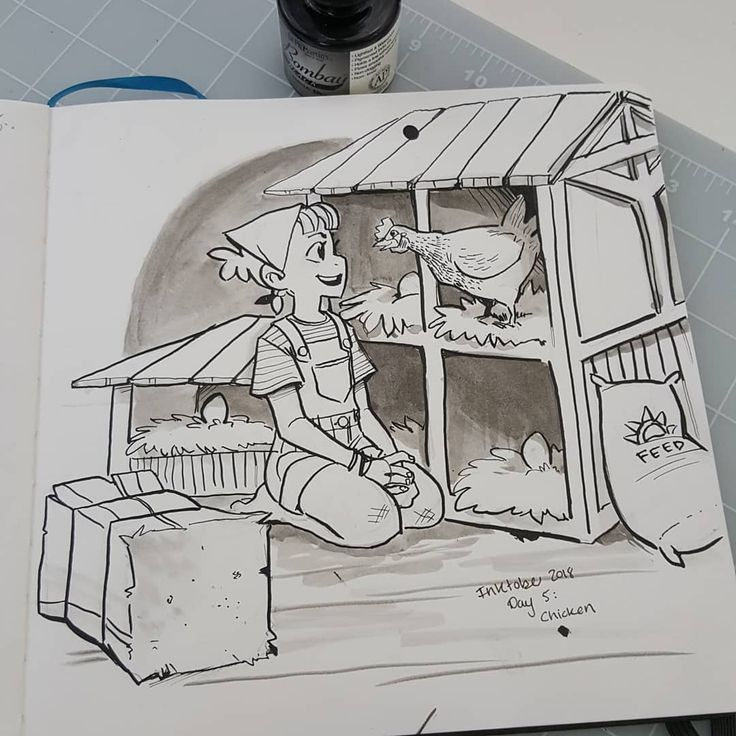 Drawingwiffwaffles Chicken Coop With Girl Inktober Day