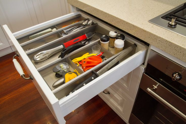 Traditional kitchen. Utensil drawer. www.thekitchendesigncentre.com.au
