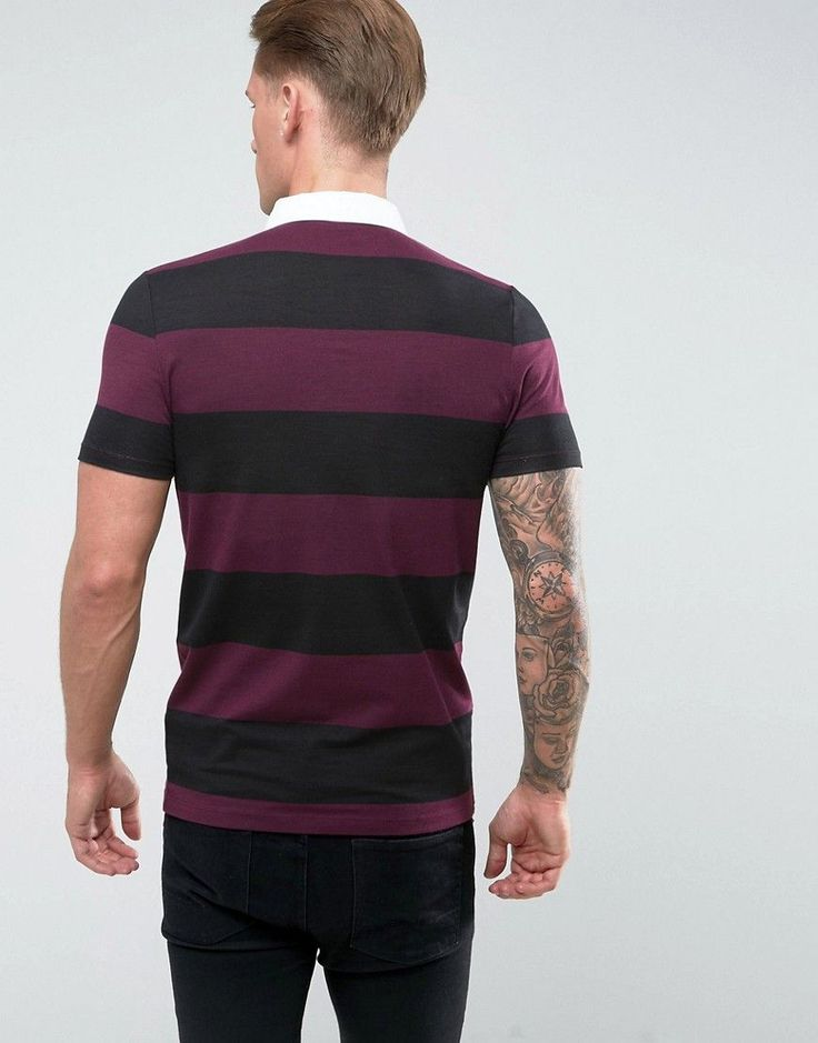 ASOS Muscle Block Stripe Rugby Polo - Multi