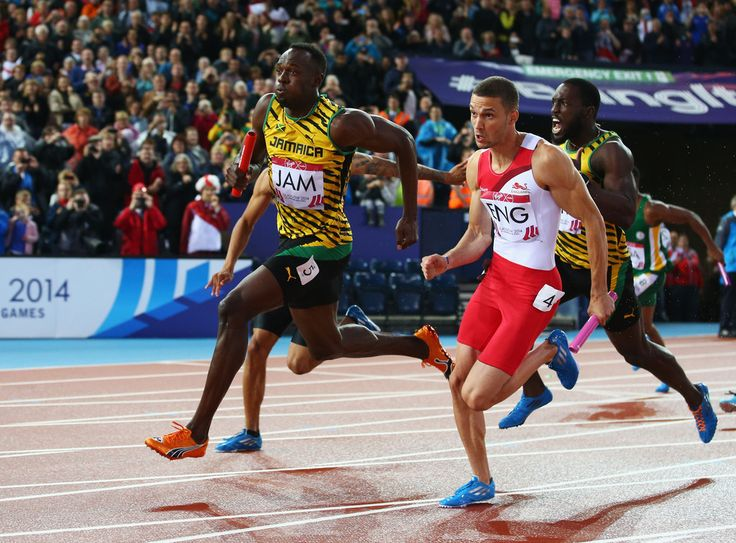 Usain Bolt of Jamaica and Danny Talbot of England
