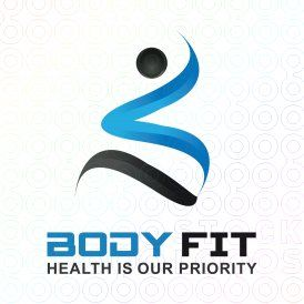 BODY FIT logo I like the motion it conveys while simple.  I like the use of tonal blues and black.  I also like it as the S of Salubrious with script... maybe no logo.  And tagline A physical therapy, massage & wellness clinic.