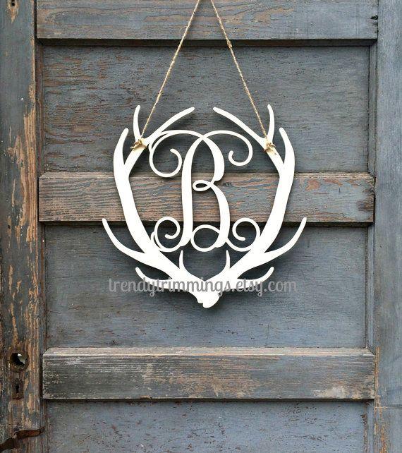 Deer Antler Monogram- Holiday Trimmings™ Wooden Monogram Letter- Interlocking Script, Door Hanger Wreath-  for Christmas, rustic cabin decor