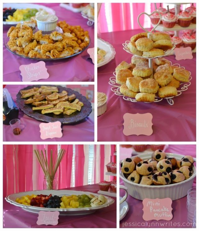 first birthday brunch: chicken strip bites, tater tots, biscuits and gravy, french toast dippers, fruit kabobs, mini pancake muffins