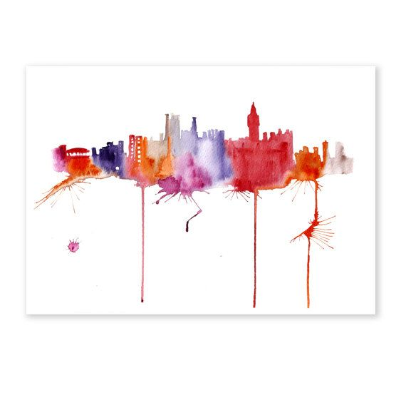 London city Abstract Watercolor painting 13x19 by fairysomnia, $105.00
