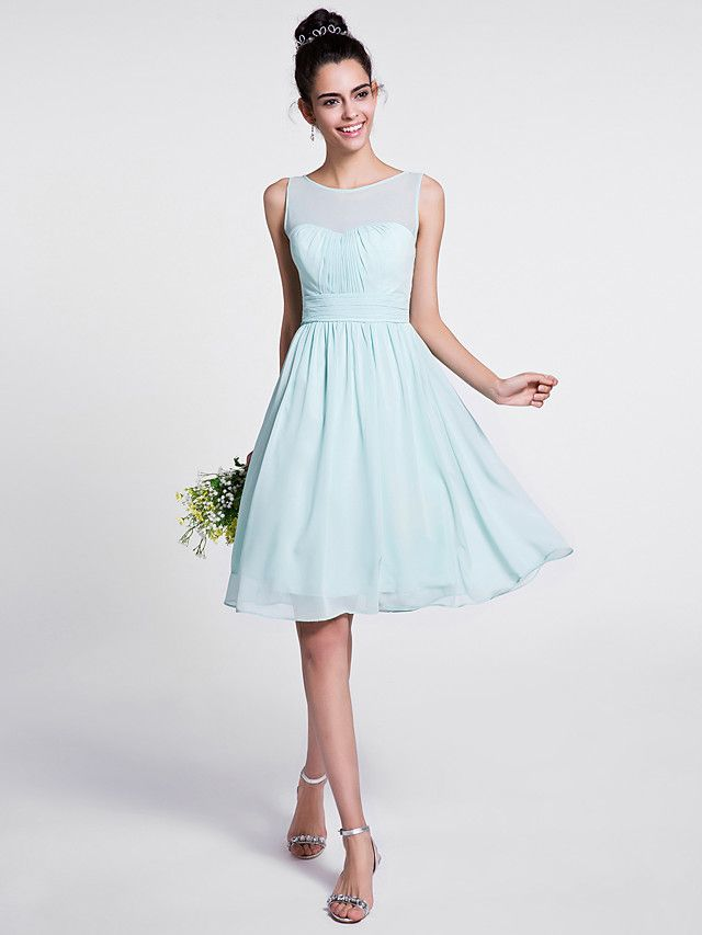 Lanting Bride Knee-length Chiffon Bridesmaid Dress A-line Scoop with Draping / Ruching - USD $79.99