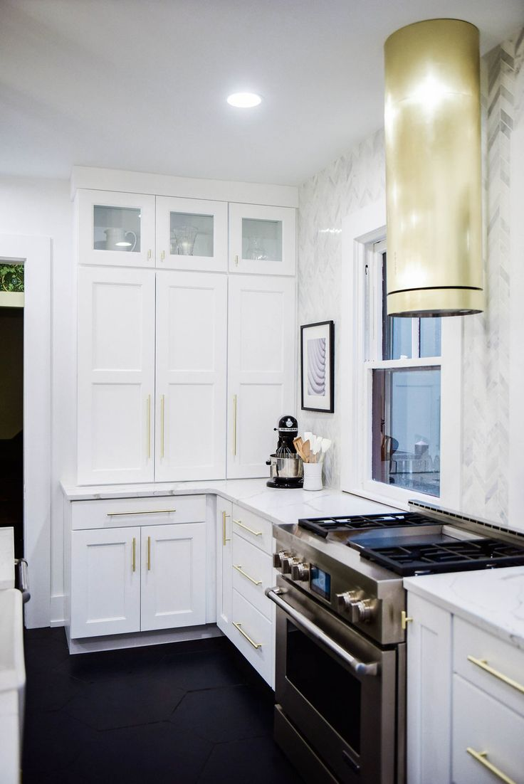 Glass Upper Cabinets Brass Range Hood Glass Upper Cabinets Glass Upper Kitchen Cabinets Kitchen Cabinets