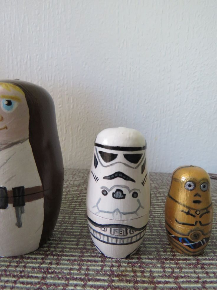 Up cycled Hand Painted Star Wars Russian dolls - Storm Trooper