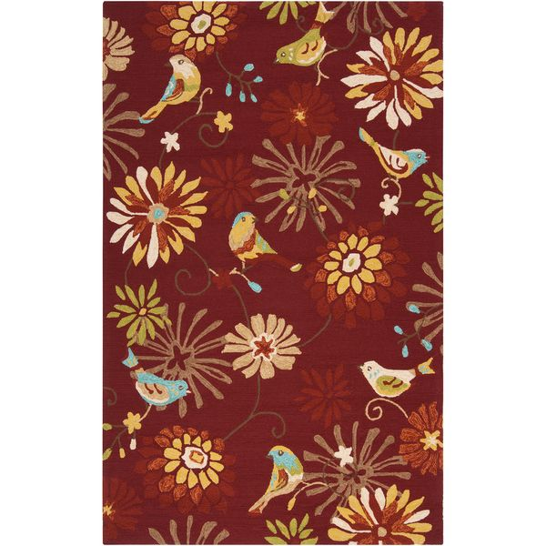 Hand Hooked Lucy Transitional Fl Indoor Outdoor Area Rug X Red Size