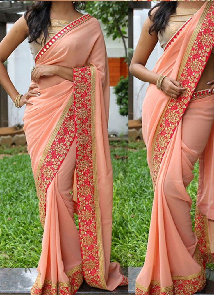 Peach 60 Gram Georgette Bollywood Saree