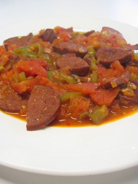 SAUSAGE WITH TOMATO SAUCE  Ingredients:   1/2 of medium onion  1 green chili pepper  1/3 lb of sausage  2 lar...