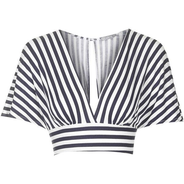 **Kimono Sleeve Crop Top by Love (177400 PYG) ❤ liked on Polyvore featuring tops, crop tops, crop, shirts, navy blue, tie crop top, navy crop top, stripe top, cropped shirts and love shirt