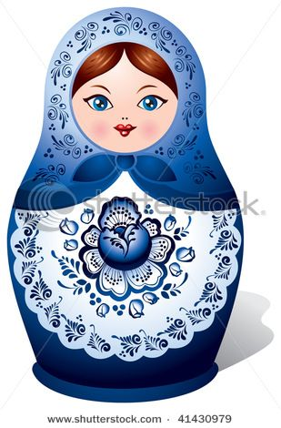 Matryoshka doll with Gzhel ornament, Russian nested doll, Babushka doll, Russian Souvenir, present