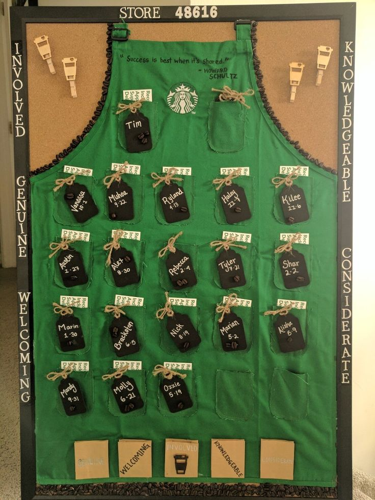 Green apron board Starbucks