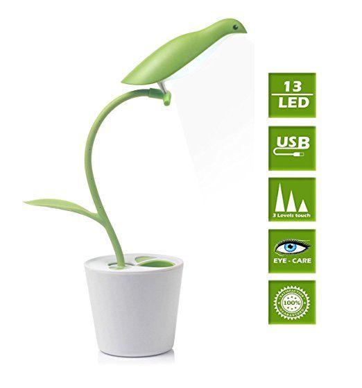 Foonii Lámpara LED Escritorio ( Cuidado Especial Para los Ojos , Control táctil, 3 modos de Brillo, bajo consumo de energía, carga puerto USB )