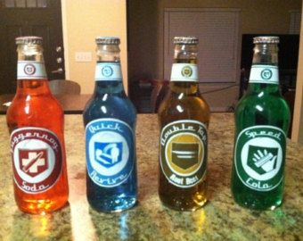 Perk-A-Cola Bottles Black Ops Zombies Call of Duty Double Tap Root Beer, Quick Revive, Juggernog, and Speed Cola Replicas