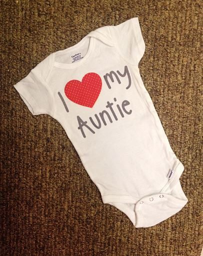 I love my Aunt Onesie//Sizes newborn-24 Months//I love my auntie onesie with red polka dot Heart and Gray lettering on Etsy, $17.50
