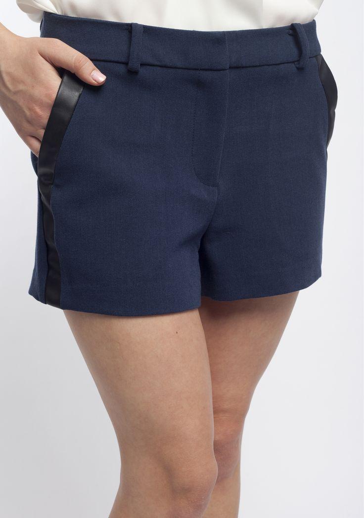 Vila, pantaloni scurți cu fermoar, bleumarin