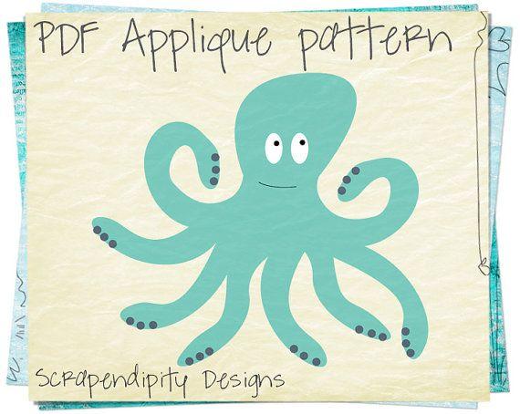 Octopus Applique Pattern Ocean Applique by ScrapendipityDesigns, $2.50