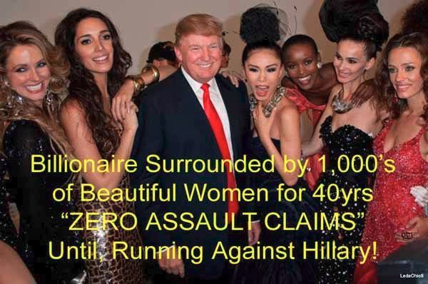 Donald Trump surrounded by 1000s of beautiful women for years. Zero assault…