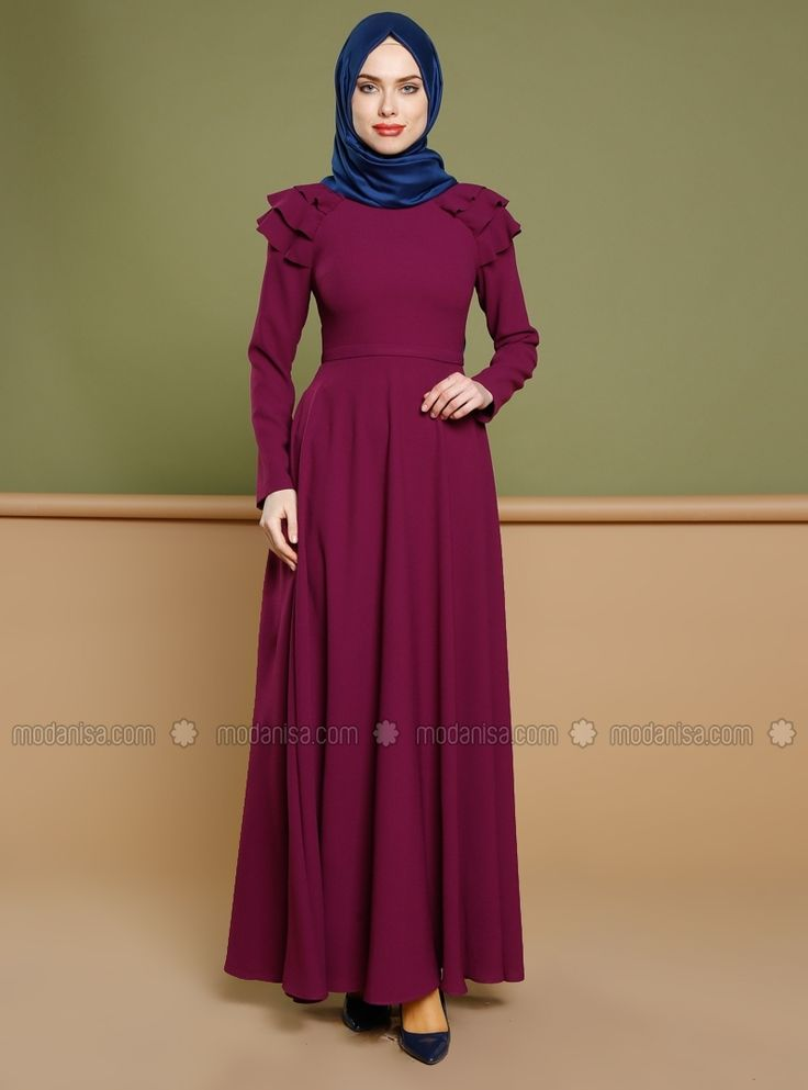Purple - Polo neck - Fully Lined - Dress - Puane