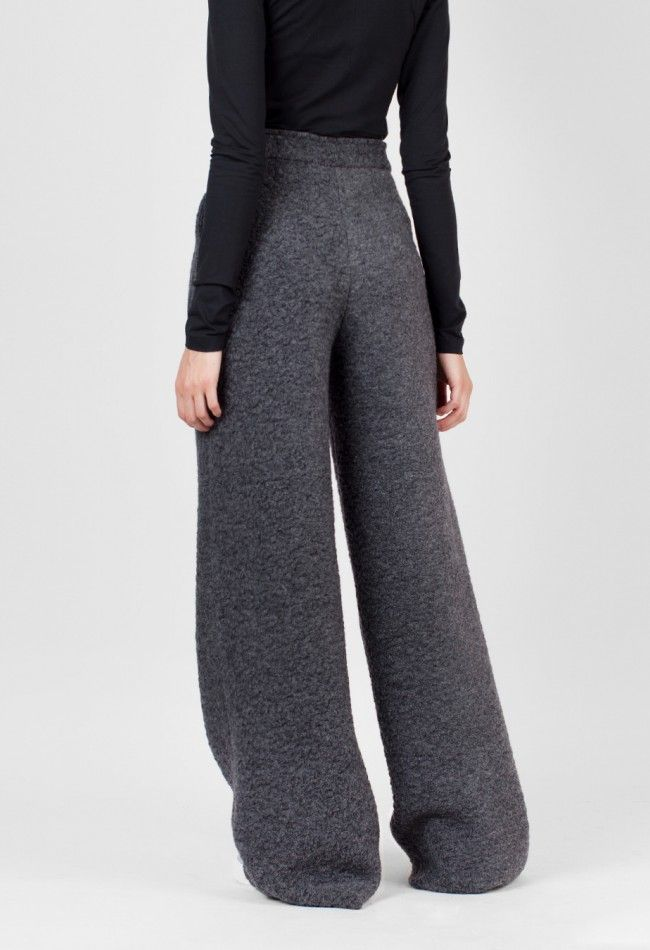 Charlie May Wide Leg Alpaca Trouser Charcoal – Voo Store