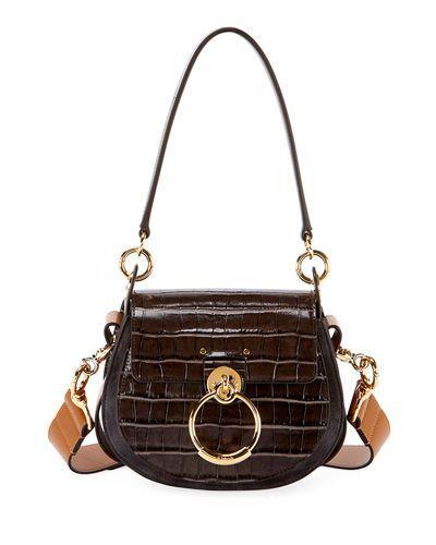5be3769fe294 V4317 Chloe Tess Small Embossed Leather Shoulder Bag