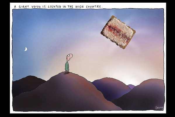 A giant Iced Vo-Vo is sighted in the High Country - cartoonist Michael Leunig.