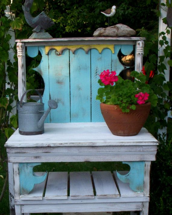 local only potting hutch table shabby cottage chic paris