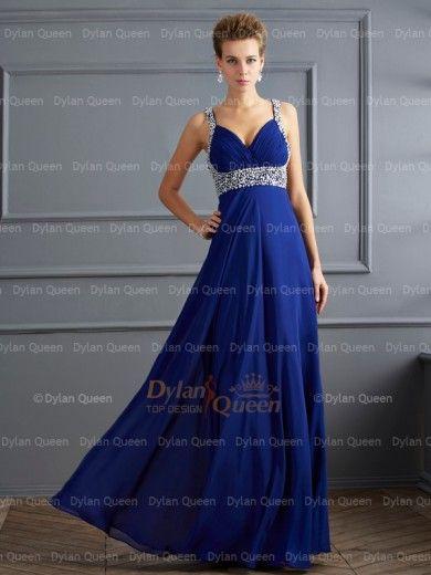 Elegant Sheath/Column Straps Beading Sleeveless Floor-length Chiffon Dresses