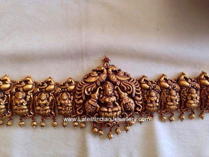 Peacock and Lakshmi Design Gold Vaddanam