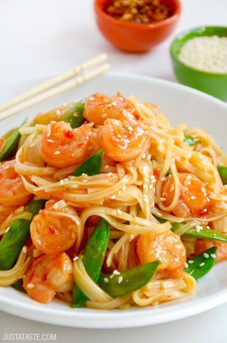 20-Minute Sweet and Sour Shrimp Stir-Fry | recipe via justataste.com