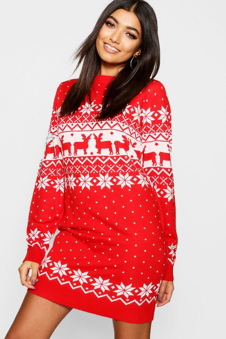 Fairisle Christmas Jumper Dress Boohoo Christmas dress