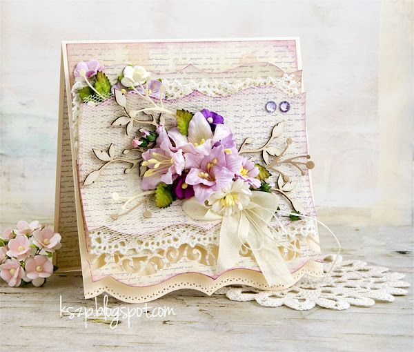 Hello everybody, It's Klaudia here with you today sharing my two new cards. My intention was to make the first one very delicate. It has many layers. The main decoration is bunch of flowers in purple,