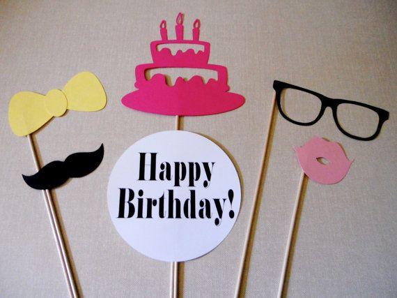 Printable Birthday Photo Booth Props ~ Happy birthday photo booth props party pure