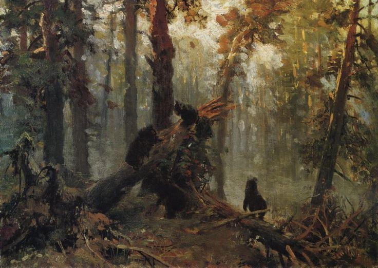 Утро в сосновом лесу. Эскиз 1889 28х40. Иван Иванович Шишкин