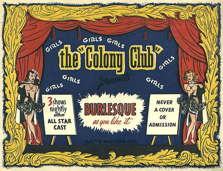 C 1960s vintage menu card colony club gardena ca