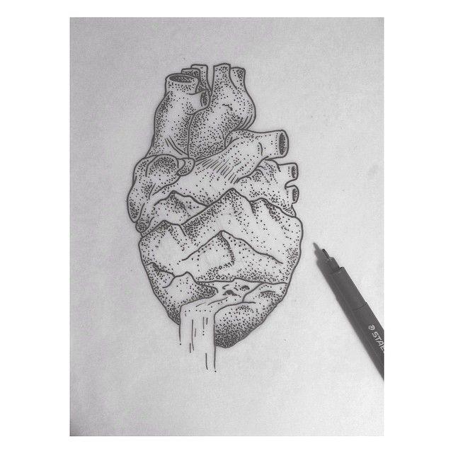 Heart/Mountains Dot Style