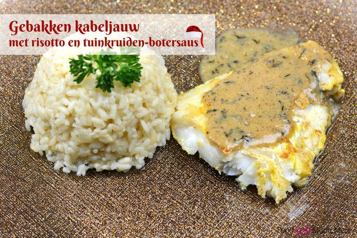 Gebakken kabeljauw met tuinkruiden botersaus en risotto // Food & So Much More