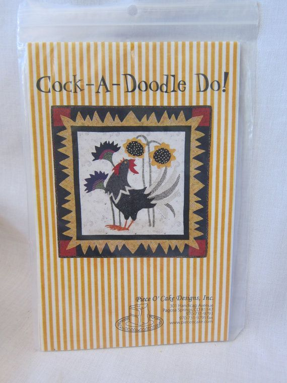 Quilt Pattern SALE. Quilt Wall Hanging Pattern. Cock-A-Doodle-Do by Piec O' Cake Design. Cheap quilt pattern