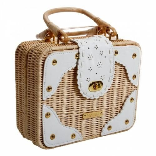 """Tote Package LIZ Sweet Straw Bag You may be """"all grown up,"""" yet still have days you want to let the little girl in you come out—or perhaps you're feeling like a summer day. Express yourself with this stylish straw bag with white details. It's mini sized, with plenty of room for your daily necessities.. ..."""