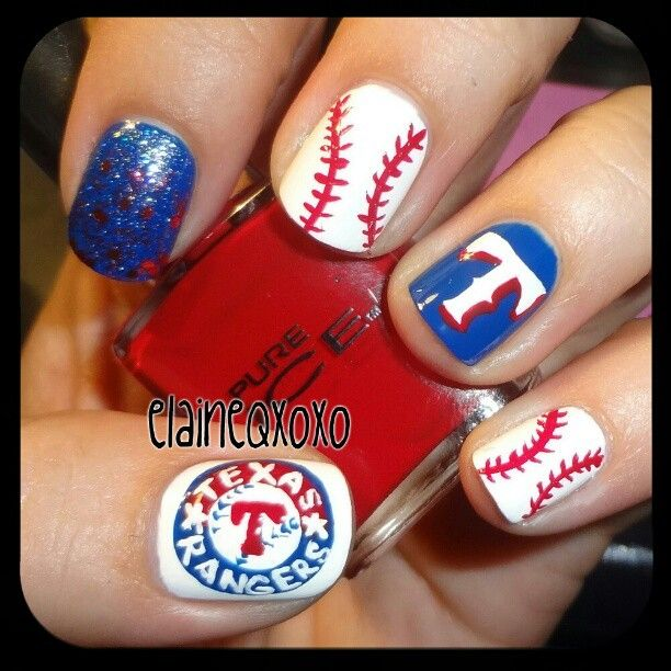 Texas Rangers by elaineqxoxo #nail #nails #nailart