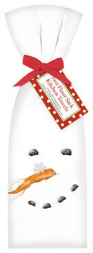 Snowman Face Towel, Set of 2 - traditional - dishtowels - Mary Lake-Thompson
