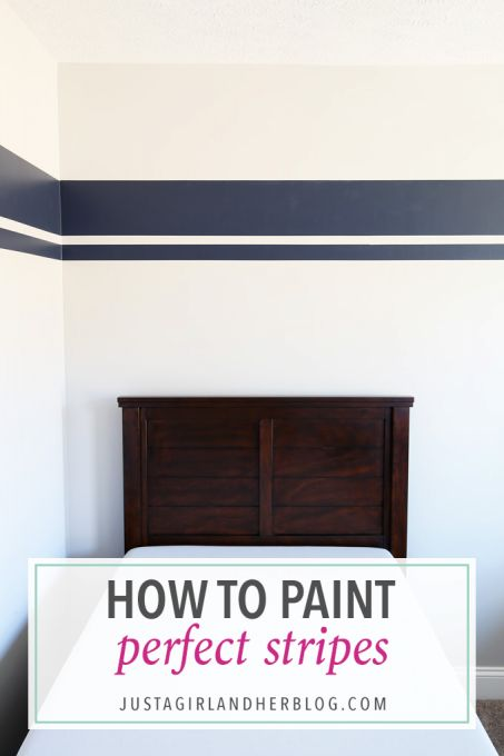 I've always wondered how people paint perfect stripes on walls, and this post shares the secret! It's genius and I never knew it was so easy! Click through to the post to see how!