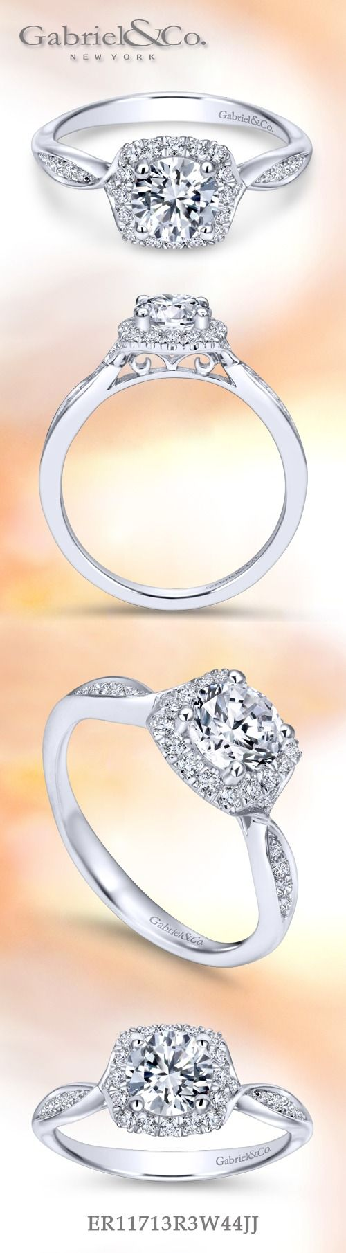 Gabriel & Co. - Voted #1 Most Preferred Fine Jewelry and Bridal Brand. 14k White Gold Round Halo  Engagement Ring  that creates an everlasting halo and sweet side channels that give it a delicate flair.