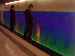 thermochromic urinal. The trough-styled urinal takes peeing to the next level with a heat sensitive wall that changes colors to reflect the temperature change. Imagine the piss art possibilities you can create by showering the wall!